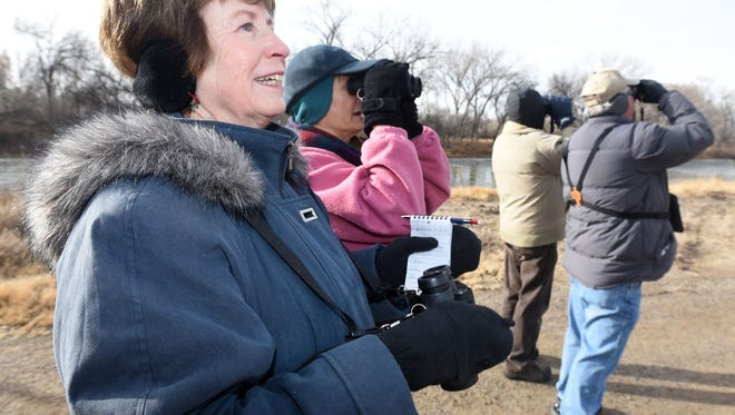 Pam Coy, front, and Donna Diers of Farmington take part in the Audubon Christmas Bird Count on Dec. 19, 2015, near the Riverside Nature Center on the Animas River. The event returns this weekend.