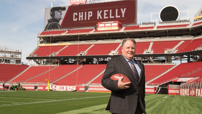 January 20, 2016; Santa Clara, CA, USA; Chip Kelly poses for a photo after being introduced as the new head coach for the San Francisco 49ers at Levi's Stadium Auditorium. Mandatory Credit: Kyle Terada-USA TODAY Sports