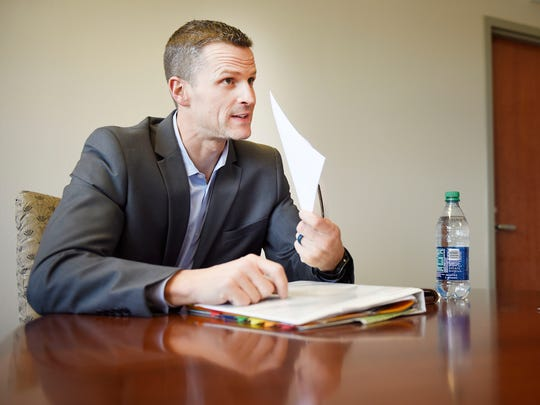 Paul TenHaken speaks with the Argus Leader Tuesday, April 17, at the newsroom in Sioux Falls.