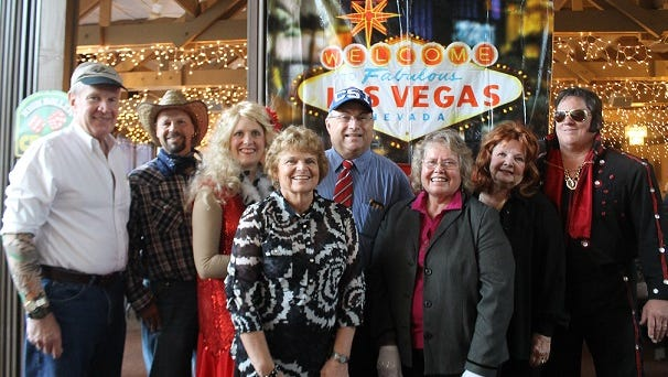 """Playing the suspects this year were Jerry Kline as Preston Ellis, Premier Elvis Impersonator; Denise Severson as Mitsy Monroe, Aging Showgirl: Gary Severson as """"Wild Bill"""" Billions, Professional Poker Player; Pat Thiesenhusen as Debra Down, Blackjack Dealer; Wayne Johnson as Jess Pawnit, Pawn Shop Owner; Mike Saeger as Lawrence Law, CSI; and Dawn Wesenberg as Lisa Ride, Limo Company Owner."""