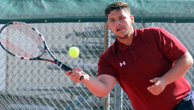 Senior Isaac Acosta is setting sights on a state-qualifying berth when he teams with eighth grader Damien Lescombes for District 3-5A doubles.