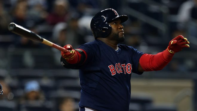 David Ortiz watches his 16th-inning homer leave the yard.