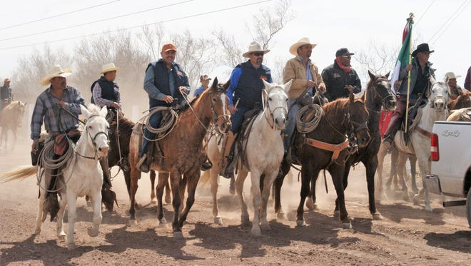 Participants in the Cabalgata Binacional ride between Nuevo Casas Grandes and Janos, Mexico, on March 5.