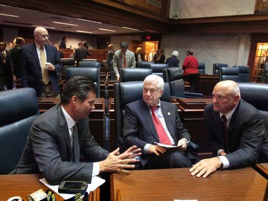 Senators, from left, Ryan Mishler, R-Bremen; Ed Charbonneau,