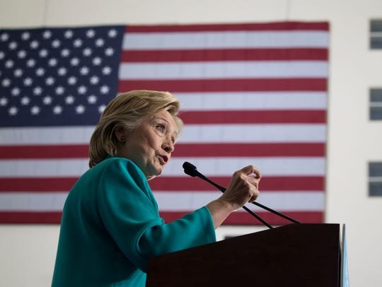 Hillary Clinton speaks at a campaign event at Truckee