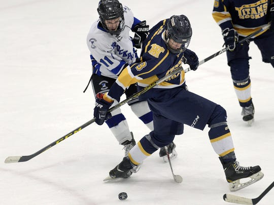 When Brockport hosted Webster Thomas on Feb. 2, Maison Fadale (11) scored a goal and two assists in a 7-0 Blue Devils victory.
