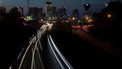 The Nashville skyline glows at sunset Thursday, May