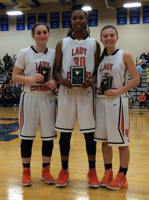 Dickson Co. High's 11-3A All Tournament players - Emily Beard, Lea Lea Carter and Cierra Smith. Lea Lea Carter was also chosen as the tournament MVP. Emily Beard was also chosen as the 11-3A district MVP.