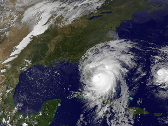 Hurricane Matthew as seen from satellite, Oct. 6, 2016