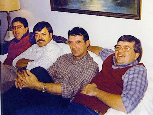 Mark Rowan's father, Chuck Rowan Jr., left, and Mark's uncles, left to right, John, Bill and Gary, in a picture from 1983.