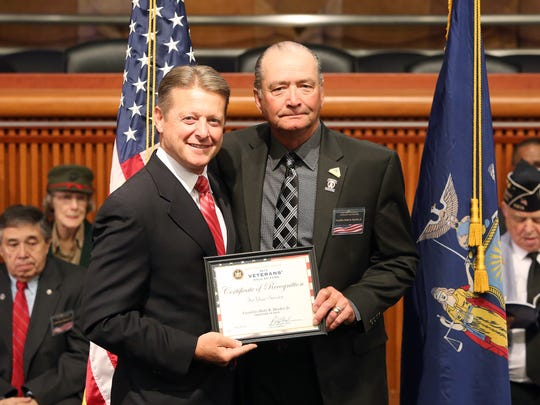 Sen. Patrick Gallivan, left, poses with new State Senate Veterans Hall of Famer Bob Harder of Henrietta.