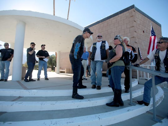 Local bikers gather at Palm Springs City Hall to speak out against the cancellation of this year's American Heat Motorcycle Rally.