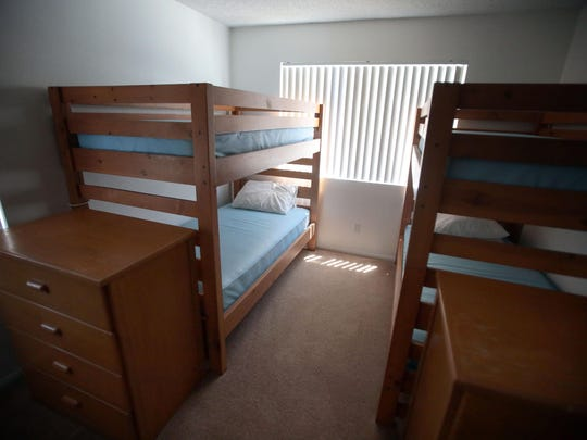 A bedroom with two bunkbeds inside apartment 9 at the Florence Rigdon Transitional Living Center run by Shelter from the Storm in Palm Desert on Tuesday Aug. 4, 2015. The shelter lost $150,000 in HUD funding and may have to cut staff and services.