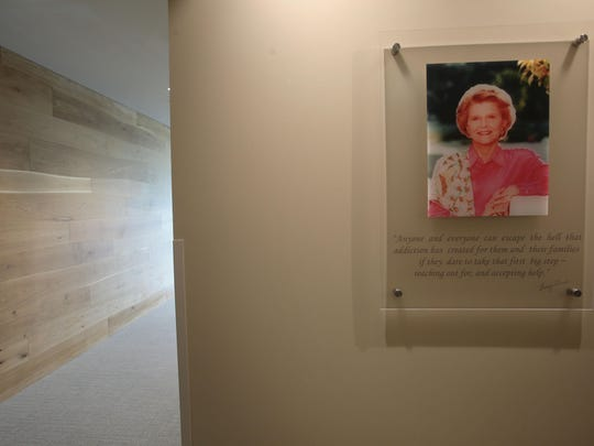 A picture of Betty Ford decorates the reception area of the Betty Ford Center in Los Angeles on Thursday.