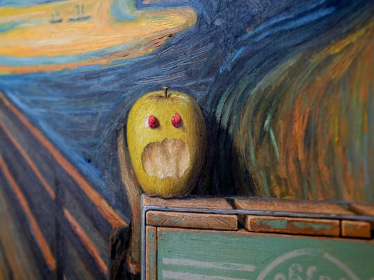 An apple comes to life in a new painting by Robert Jackson.