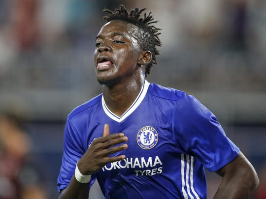 Chelsea forward Bertrand Traore celebrates his goal against AC Milan during the first half of an exhibition soccer match Wednesday in Minneapolis.