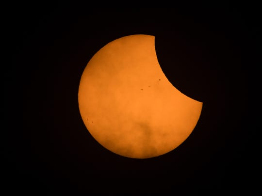 The beginning of the solar eclipse as seen from Nashville,