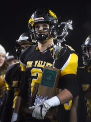 Tri-Valley linebacker Nathan Lawler holds the state