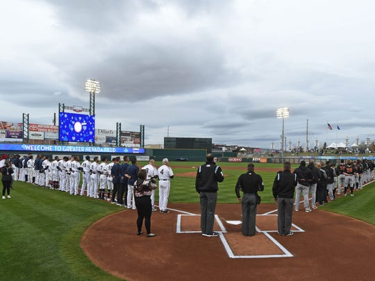 The National Anthem is sung on the Reno Aces' opening day at Greater Nevada Field on April 5, 2018.