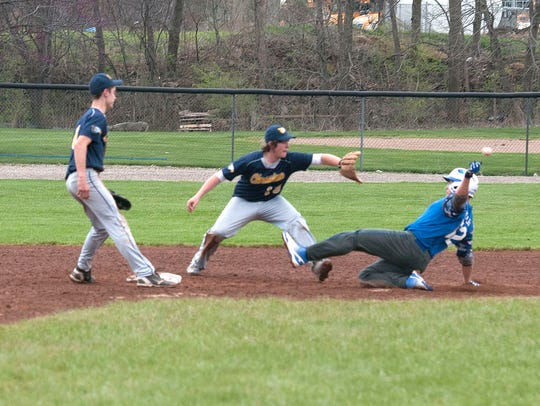 Danbury's Logan Kenley slides into second base during