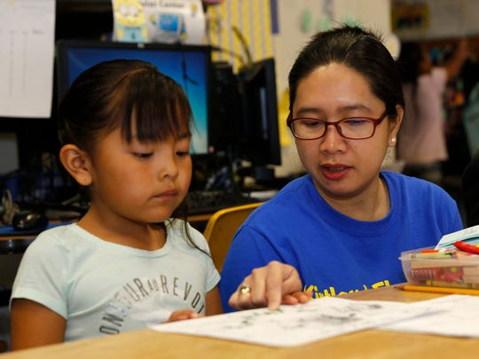 At right, Kirtland Elementary School first-grade teacher Cherry Simpelo works with student Kaylee Hatathlie during class on Wednesday at the school. The Central Consolidated School District has approved its proposed budget for the upcoming school year.