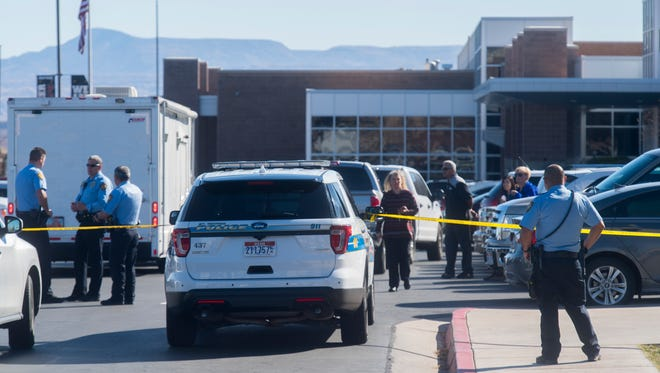 "First responders secure a perimeter outside Pine View High School on Monday, March 5, 2018. Students were evacuated after reports of a ""suspicious incident."""