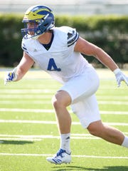 Delaware linebacker Colby Reeder works in a scrimmage