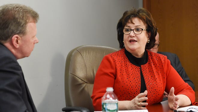 New York State Education Commissioner MaryEllen Elia speaks with Poughkeepsie Journal Opinion Engagement Editor John Penney in this file photo. The state Education Department is proposing changes to the standards connected to the controversial Common Core initiative.
