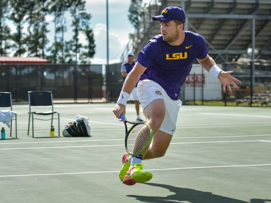 The Louisiana Ragin' Cajuns men's tennis team hosting seven of the top 35 teams in the country in the John Breaux Cajun Tennis Classic at the Culotta Tennis Center. September 23, 2016 (Pictured- Jordan Daigle -LSU)