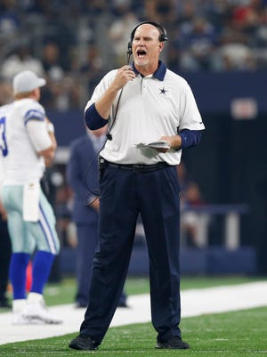 Dallas Cowboys offensive line coach Frank Pollack yells from the sidelines during the game against the New York Giants at AT&T Stadium. Cincinnati hired him Thursday to lead their offensive line.