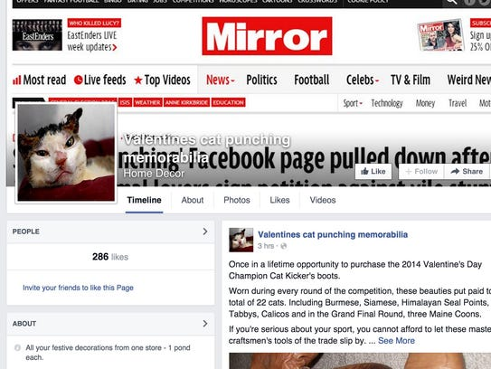 """Screenshot from Facebook page, """"Valentine's cat punching"""