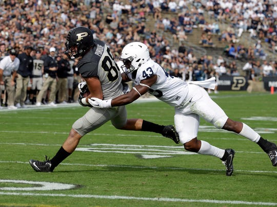 Manny Bowen (43) and the other Penn State linebackers have been active in pursuit and in the run game. They just haven't made many impact plays yet on defense. That may need to happen against Hoosiers' QB Richard Lagow and friends.
