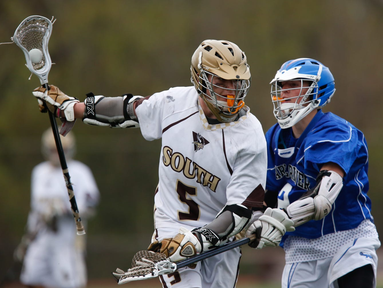 Clarkstown South and Pearl River play a boys Lacrosse game at Clarkstown South High School in West Nyack on April, 26, 2016.