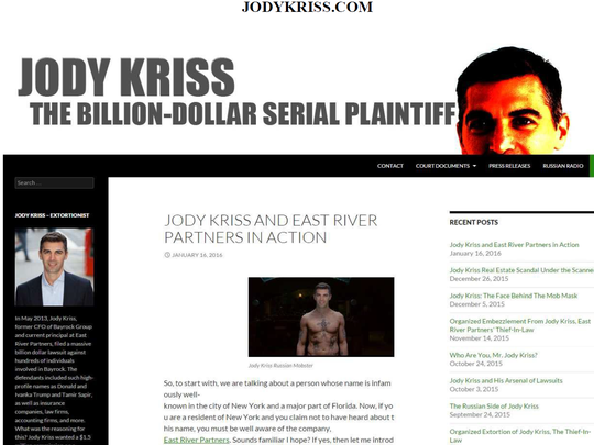 This screenshot filed in federal court papers shows what was posted on JodyKriss.com. Kriss, a New York developer who was part of the team that tried to build a Trump Tower in Phoenix, filed suit to get the disparaging websites taken down.