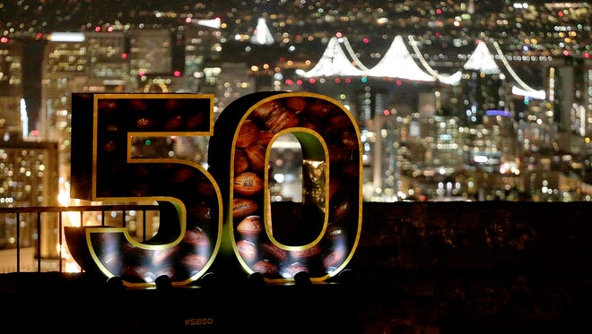 A Super Bowl 50 sign stands in a park overlooking San Francisco Wednesday, Feb. 3, 2016. The Denver Broncos play the Carolina Panthers in the NFL Super Bowl 50 football game Sunday, Feb. 7, 2015, in Santa Clara, Calif.