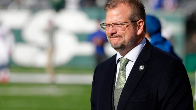 "FILE - In this Jan. 1, 2017, file photo, New York Jets general manager Mike Maccagnan looks on prior to an NFL football game against the Buffalo Bills, in East Rutherford, N.J. The Jets called an aggressive audible by trading up to the No. 3 pick last month to assure themselves of getting one of the top quarterbacks available in the NFL draft.  Now comes the toughest play call of all.  Sam Darnold? Baker Mayfield? Josh Rosen? Josh Allen?  ""You just want to get it right,"" general manager Mike Maccagnan said. (AP Photo/Seth Wenig, File)"