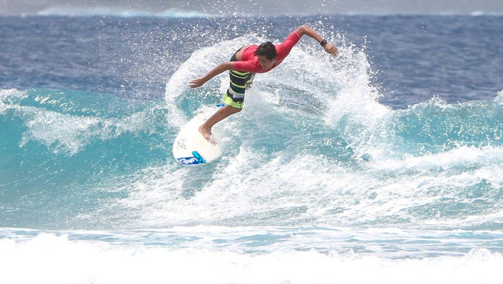 "In this file photo, Jared Gogue rides a wave at the Eighth Annual Rick's Reef Classic. He's one of four amateur surfers from Guam who will head to Hawaii for Memorial Day weekend to compete in the Local Motion ""Surf into Summer."""