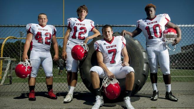 Erwin football players Trevor Franklin, Damien Ferguson, Chase Austin, and Rayonte Mills.