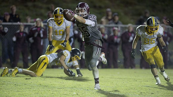 Jordan Cody scores a touchdown Friday night for Swain