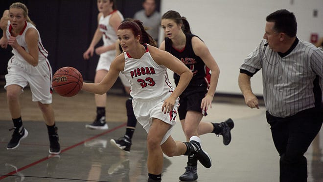 Brooklyn Allen speeds down the court Tuesday Dec. 8 during Pisgah's home game against North Buncombe.