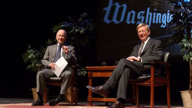 Mitch Daniels interviewed George Will on Monday night in Purdue University's Loeb Playhouse.