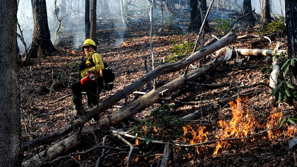 Mark Williams, left, of the N.C. Wildlife Resources Commission, sets fire to an area of land in Lake James State Park near January with a drip torch.