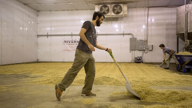 Sam Lewis rakes up grain at  Riverbend Malt House in Asheville. Riverbend uses a 17th-century method called floor malting, which allows the team to manage the heat and moisture during the germination process.