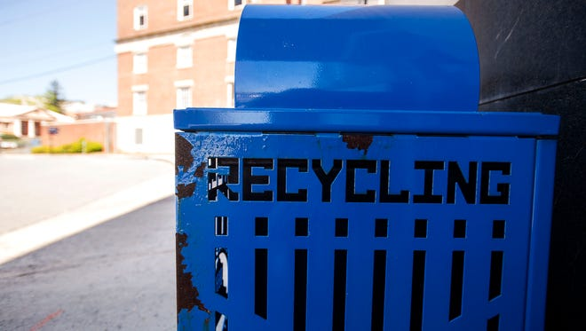 A recycling can on Otis Street in downtown Asheville.