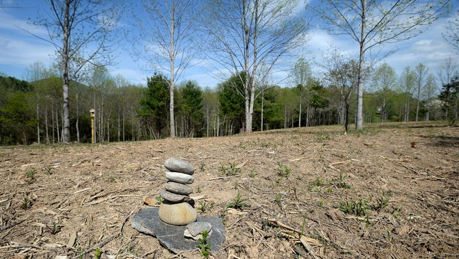 A tower of rocks sits in the meadow at Carolina Memorial Sanctuary where one of the first clients has chosen to be buried and makes regular visits to volunteer and enjoy the peaceful natural space.