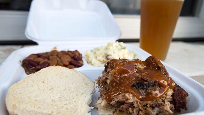 Every Thursday Doc Brown's BBQ is parked at Bearwaters Brewing in Waynesville and guests can enjoy a Heady Eddy pale ale with a Doc Brown's classic- a pulled pork sandwich with baked beans and potato salad.