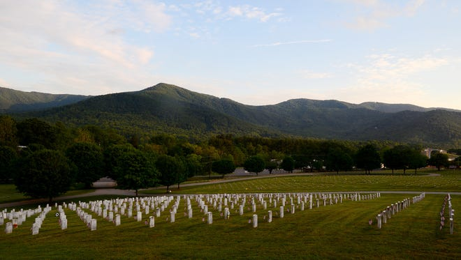 Graves at the Western Carolina State Veterans Cemetery in Black Mountain each received an American flag in honor of Memorial Day. More than 5,700 veterans and their spouses are currently buried at the cemetery.