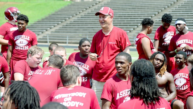 David Burdette presided over his first official practice as Asheville High's football coach on Monday.