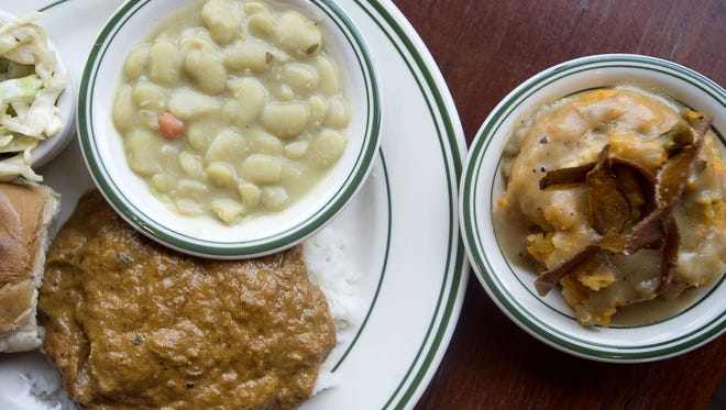 Buxton Hall serves up South Carolina hash with lima beans and a root vegetable mash.