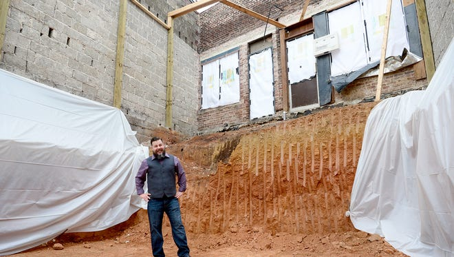 Sean Piper's new restaurant Jargon, serving continental social cuisine, is under construction on Haywood Road in West Asheville. The building has been completely gutted, leaving only the facade and side walls to preserve it's historic integrity.